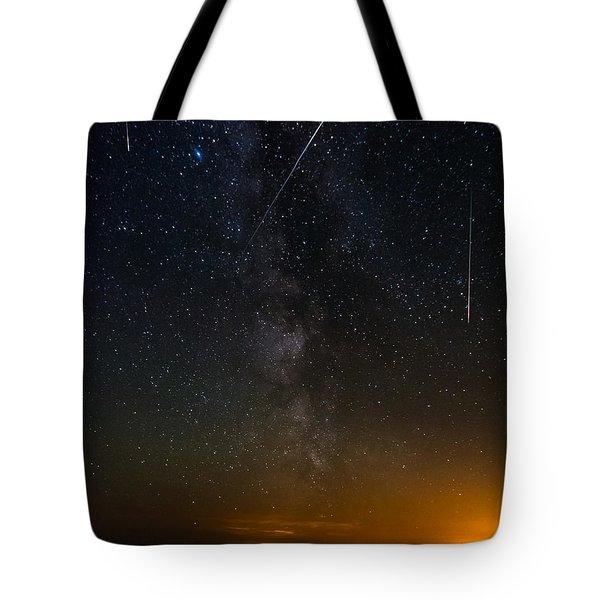 Perseids Meteor Shower Tote Bag