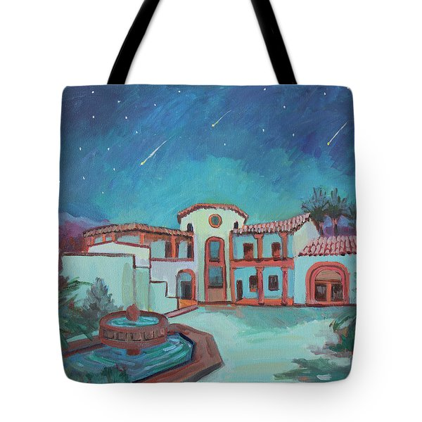 Tote Bag featuring the painting Perseids Meteor Shower From La Quinta Museum by Diane McClary