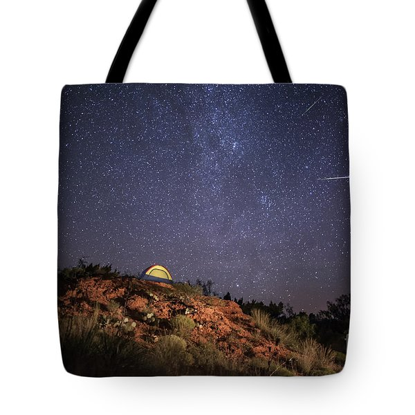 Perseids Over Caprock Canyons Tote Bag