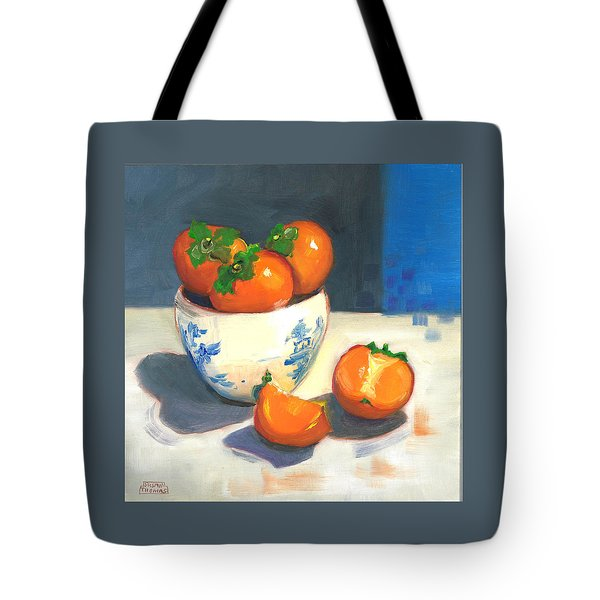 Tote Bag featuring the painting Persimmons by Susan Thomas