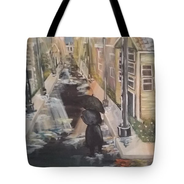 Tote Bag featuring the painting Persistence by Saundra Johnson