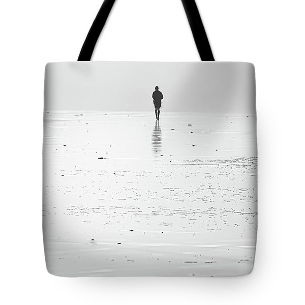 Person Running On Beach Tote Bag