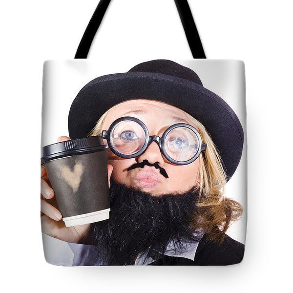 Person With Cup Of Coffee Tote Bag