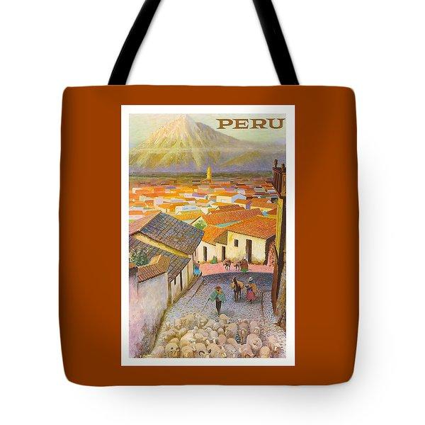 Peru El Misti Volcano Vintage Travel Poster Tote Bag