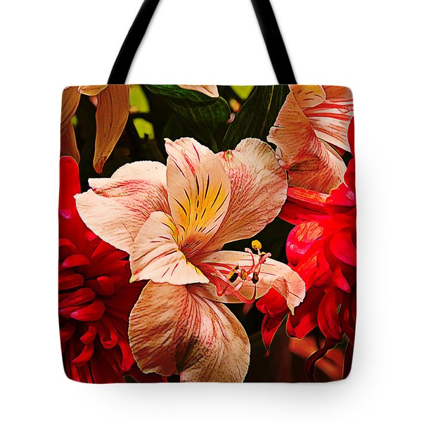 Peruvian Lily Grain Tote Bag by Bill Tiepelman