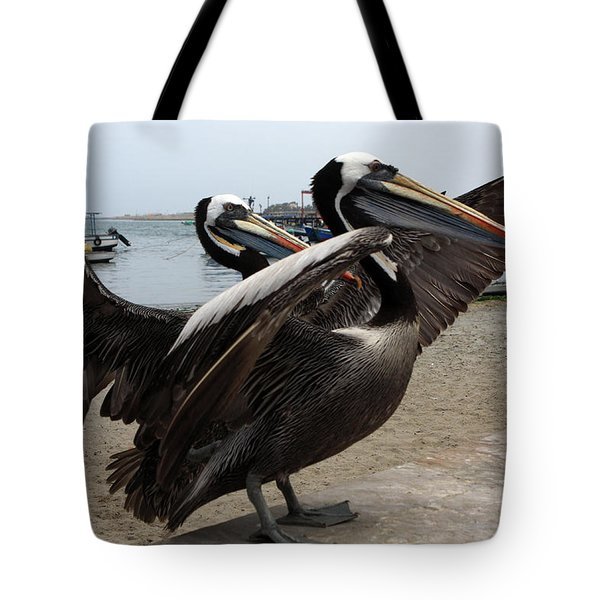 Tote Bag featuring the photograph Peruvian Pelicans by Aidan Moran