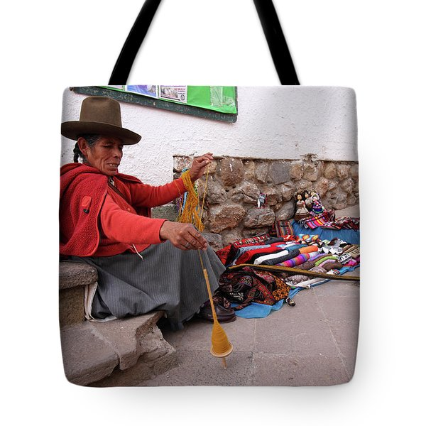 Tote Bag featuring the photograph Peruvian Weaver by Aidan Moran
