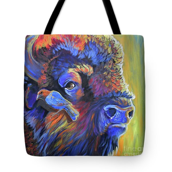 Tote Bag featuring the painting Pesky Cowbird by Jenn Cunningham