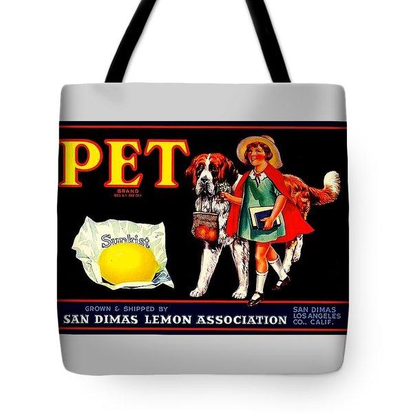 Tote Bag featuring the painting Pet Saint Bernard 1920s California Sunkist Lemons by Peter Gumaer Ogden