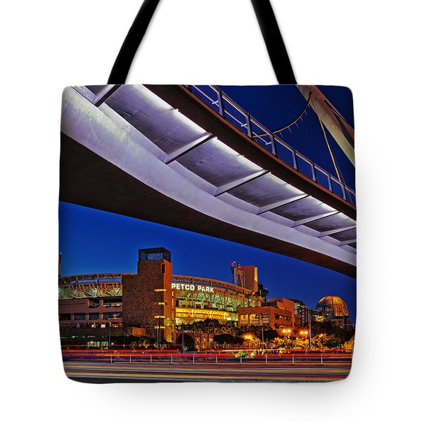 Petco Park And The Harbor Drive Pedestrian Bridge In Downtown San Diego  Tote Bag