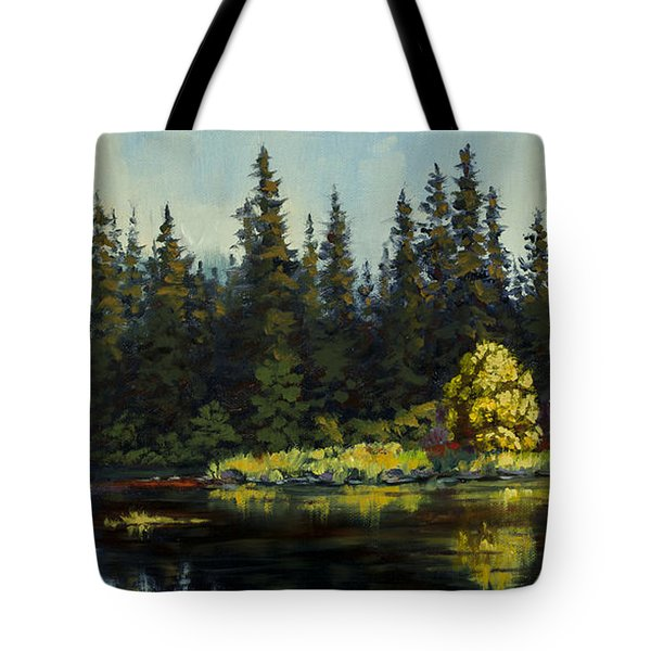 Tote Bag featuring the painting Peterson Lake by Kurt Jacobson