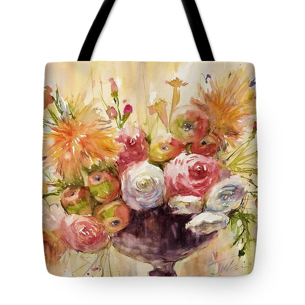 Petite Apples In Floral Tote Bag by Judith Levins
