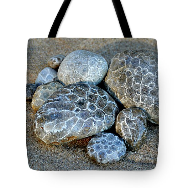 Tote Bag featuring the photograph Petoskey Stones by SimplyCMB
