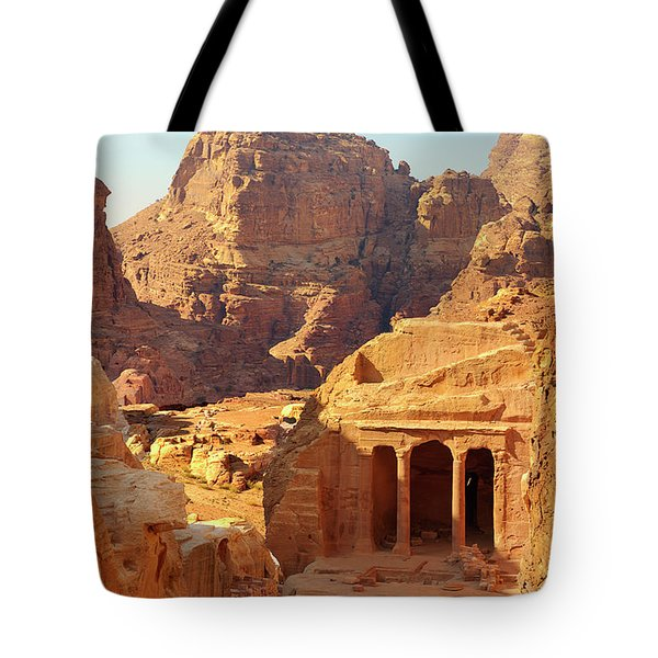 Petra Buildings, Pond And Gardens Complex Tote Bag by Nicola Nobile
