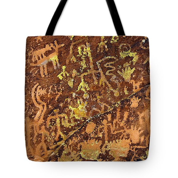 Petroglyph Records Tote Bag by Phyllis Denton