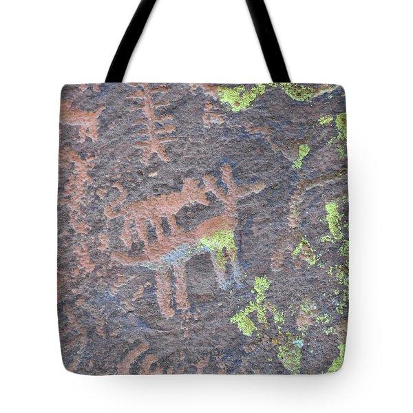 Petroglyph Wolf Attack Tote Bag