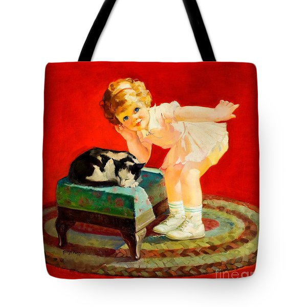 Tote Bag featuring the painting Petting The Cat George Leslie Rapp 1920 by Peter Gumaer Ogden