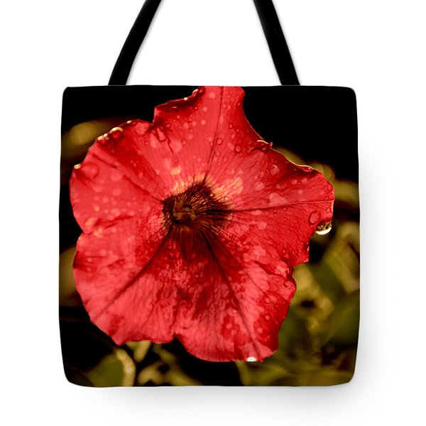 Petunia After Rain Tote Bag