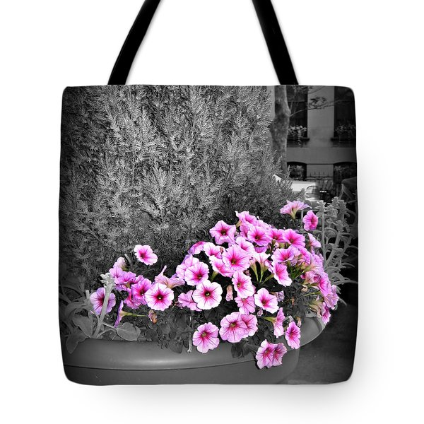 Tote Bag featuring the photograph Petunias In Brooklyn Circa 2006 by Iowan Stone-Flowers