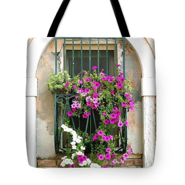 Petunias Through Wrought Iron Tote Bag