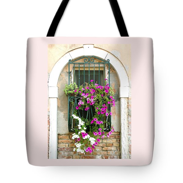 Petunias Through Wrought Iron Tote Bag