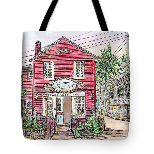 Tote Bag featuring the drawing Pewter Shop, Rockport Massachusetts by Michele A Loftus