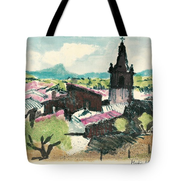 Tote Bag featuring the painting Peyruis Village In Provence by Martin Stankewitz