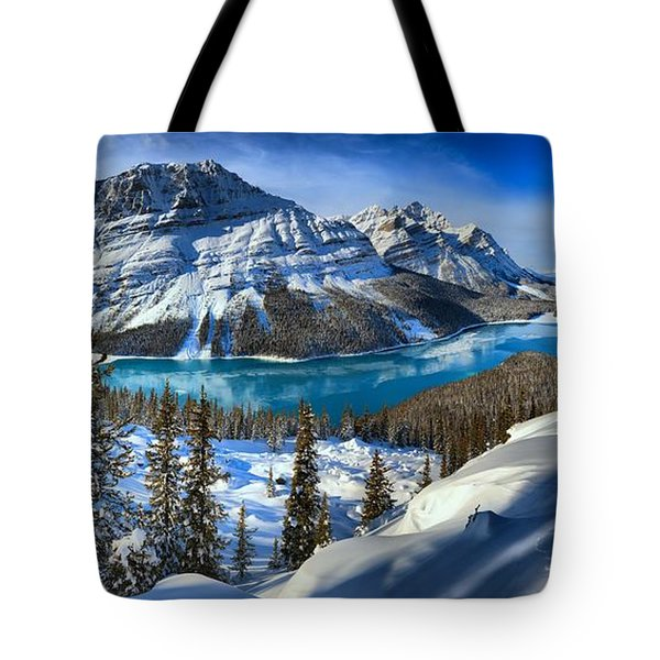 Peyto Lake Winter Panorama Tote Bag