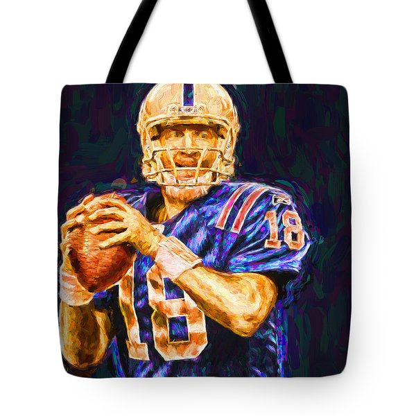 Peyton Manning Indianapolis Colts Nfl Football Painting Digital Tote Bag
