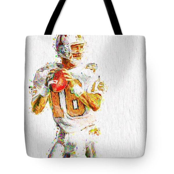 Peyton Manning Nfl Football Painting Tv Tote Bag