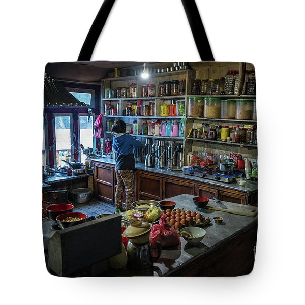 Tote Bag featuring the photograph Phakding Teahouse Kitchen Morning by Mike Reid