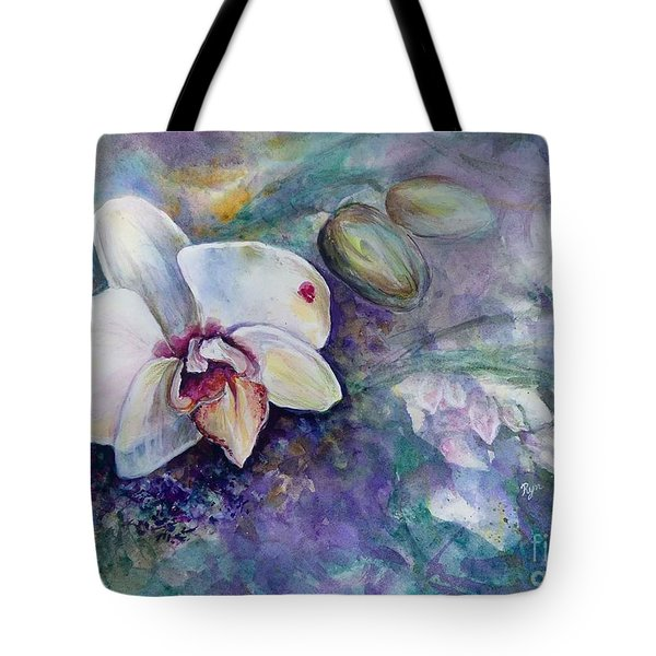 Phalaenopsis Orchid With Hyacinth Background Tote Bag