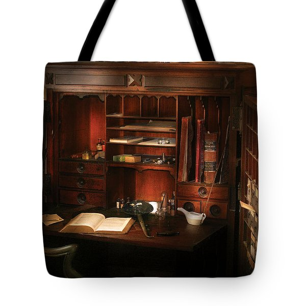 Pharmacist - The Pharmacists Desk Tote Bag by Mike Savad