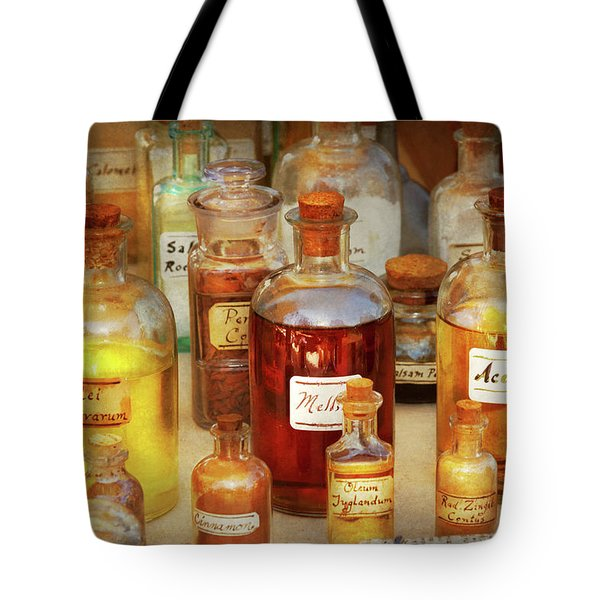 Pharmacy - Serums And Elixirs Tote Bag by Mike Savad
