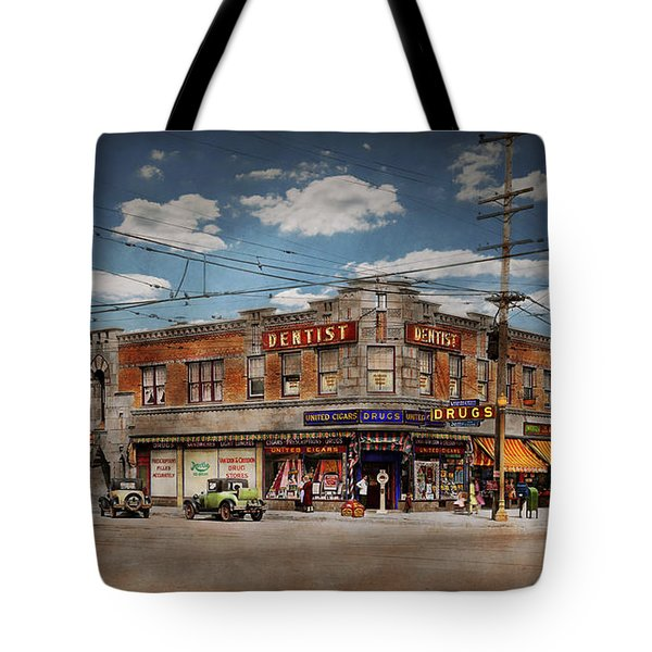 Tote Bag featuring the photograph Pharmacy - The Corner Drugstore 1910 by Mike Savad