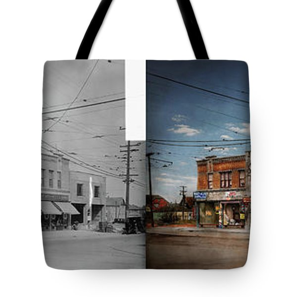 Tote Bag featuring the photograph Pharmacy - The Corner Drugstore 1910 - Side By Side by Mike Savad