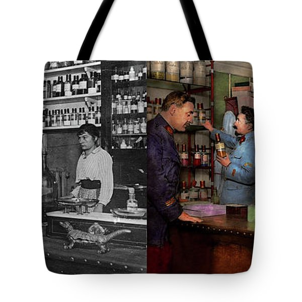 Tote Bag featuring the photograph Pharmacy - The Dispensing Chemist 1918 - Side By Side by Mike Savad