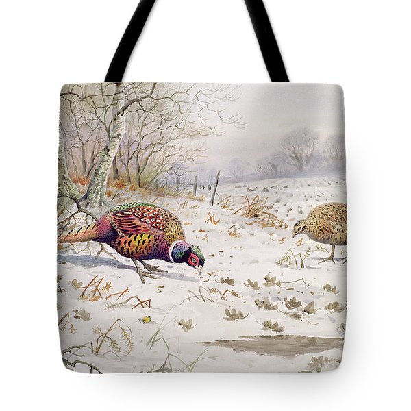 Pheasant And Partridge Eating  Tote Bag by Carl Donner