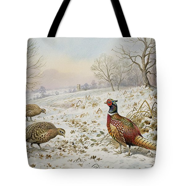 Pheasant And Partridges In A Snowy Landscape Tote Bag