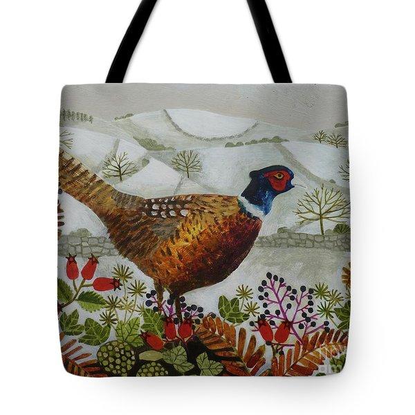 Pheasant And Snowy Hillside Tote Bag