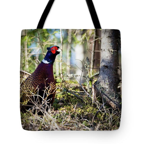 Pheasant In The Forest Tote Bag by Teemu Tretjakov