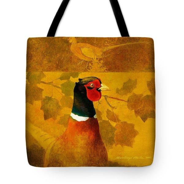 Pheasant In Yellow Tote Bag