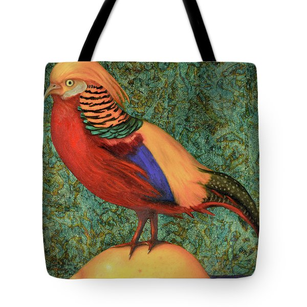 Pheasant On A Lemon Tote Bag by Leah Saulnier The Painting Maniac