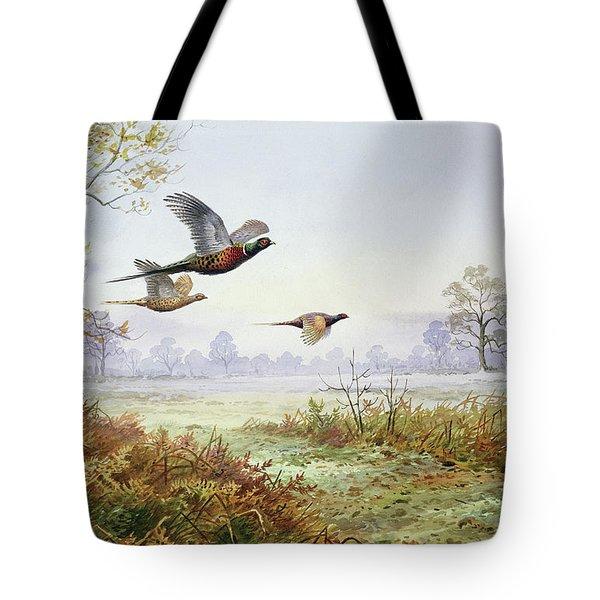 Pheasants In Flight  Tote Bag