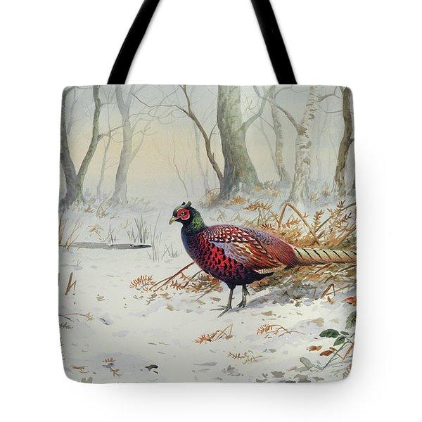 Pheasants In Snow Tote Bag by Carl Donner