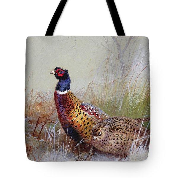 Pheasants In The Snow Tote Bag