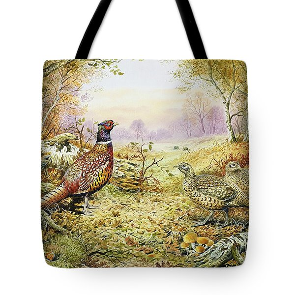 Pheasants In Woodland Tote Bag by Carl Donner