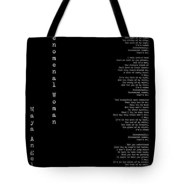 Phenomenal Woman By Maya Angelou - Feminist Poetry Tote Bag