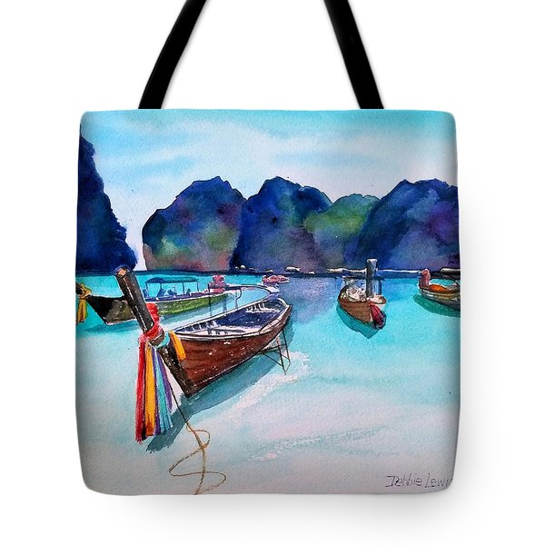 Tote Bag featuring the painting Phi Phi Island by Debbie Lewis