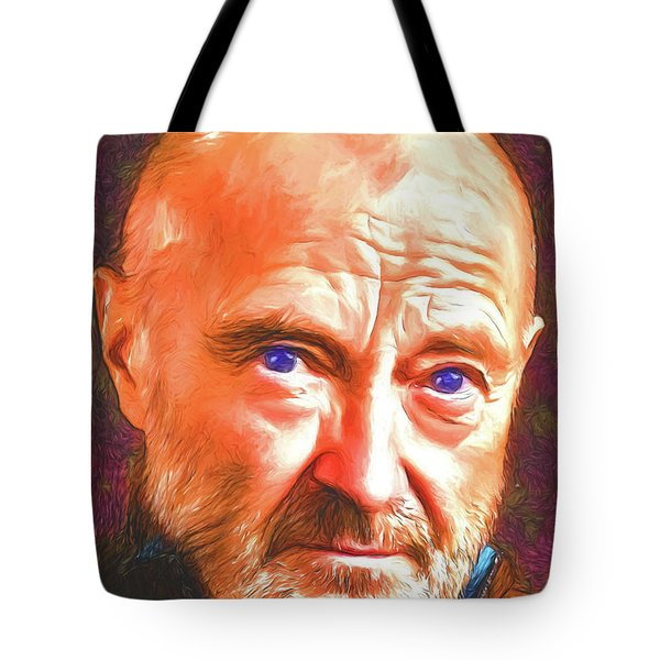 Tote Bag featuring the digital art Phil Collins by John Haldane